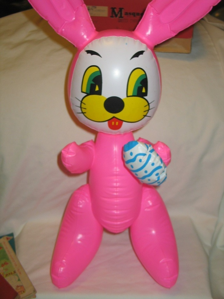 Vintage Vinyl Inflatable Pink Easter Bunny Rabbit Squeaky