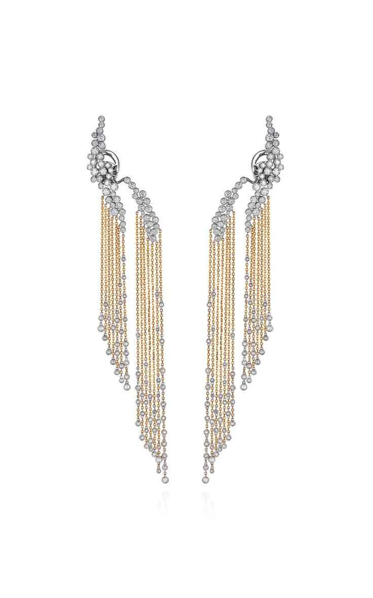 White and Yellow Gold Chain Earring with White Diamonds