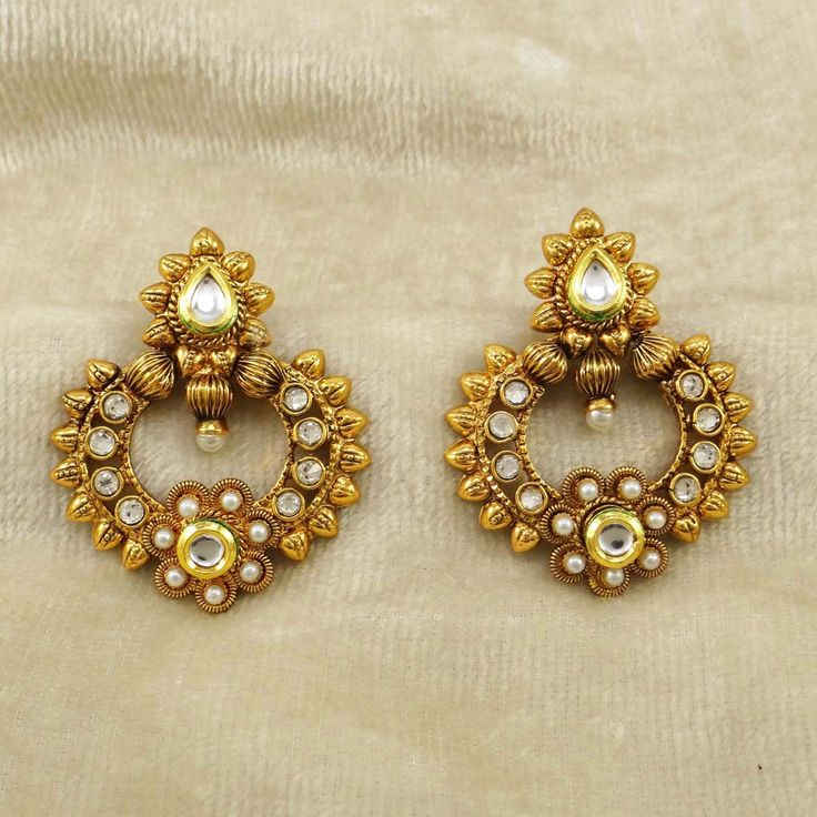 Bollywood Traditional CZ Gold tone Ethnic Indian Dangle #Earrings