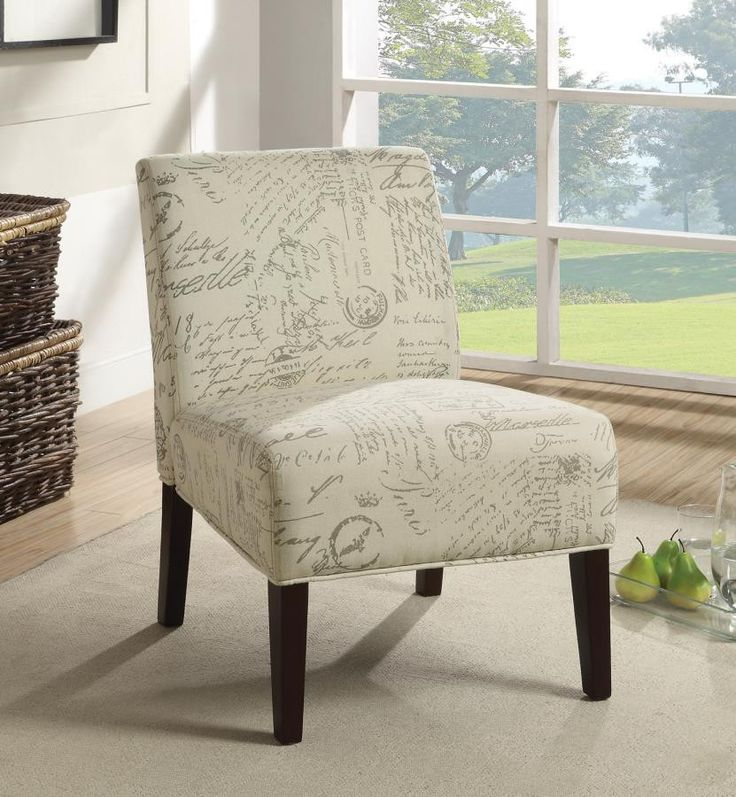 Create A Vintage Look In Your Room With This Accent Chair Covered In A  French Script Linen Cotton Fabric. Match This Accent Chair With Our Norah  Sofa ...