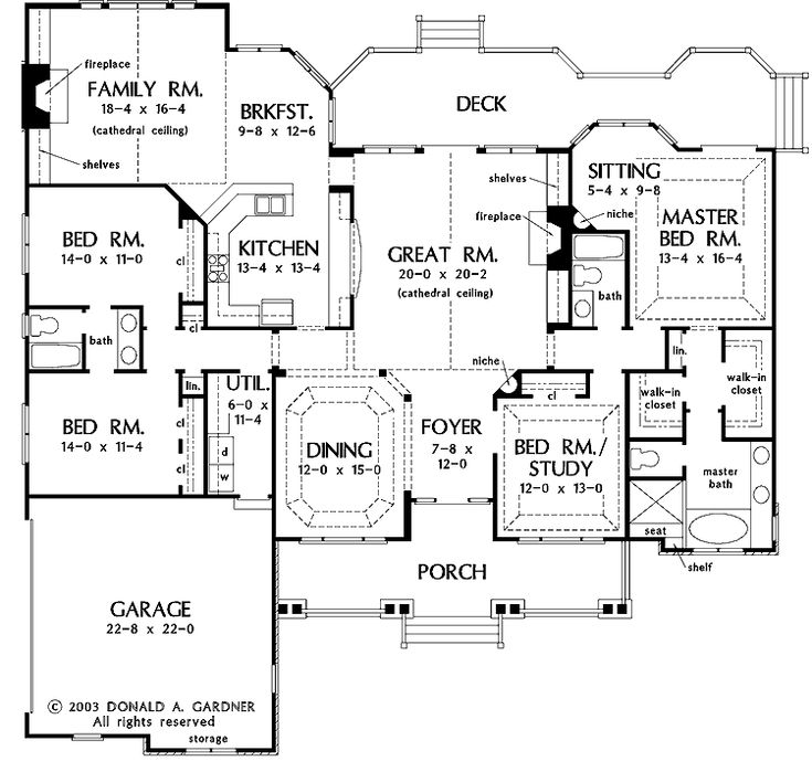 Floor Plans AFLFPW05235   1 Story French Country Home With 4 Bedrooms, 3  Bathrooms And