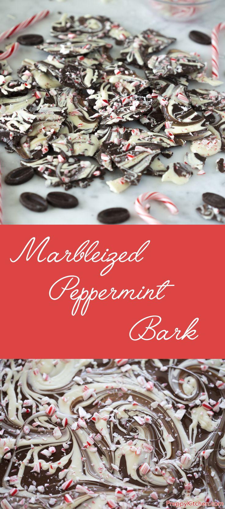 Dark chocolate, white chocolate, peppermint and crushed candy canes. A fast treat that's almost too easy to be true. via @preppykitchen