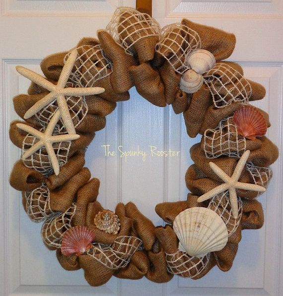 Burlap Summer/Beach Wreath  Neutrals by TheSpunkyRooster on Etsy, $140.00