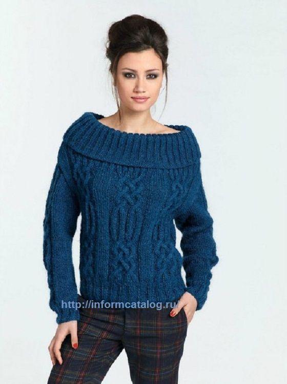 Синий Пуловер с Косами | Ниточка