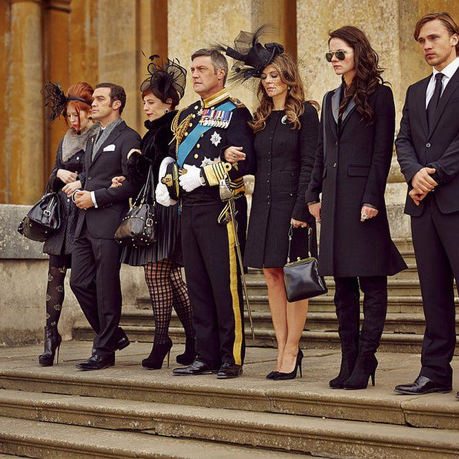 Elizabeth Hurley, William Moseley, Vincent Regan, and Alexandra Park in The Royals (2015) - Click to expand
