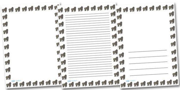 Gorilla Portrait Page Borders Portrait Page Borders  Page border border writing template