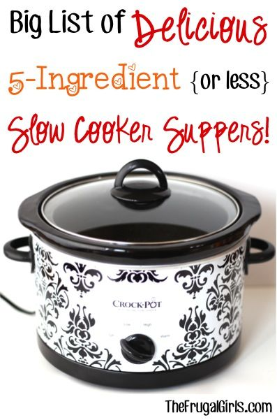 Big List of Delicious 5-Ingredient {or less} Slow Cooker Suppers! ~ from TheFrugalGirls.com ~ these Crockpot dinner recipes couldn't be easier, and are packed with flavor! #slowcooker #recipe #thefrugalgirls