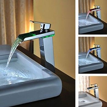 powder room sink faucets. Contemporary Solid Brass Single Handle LED Waterfall Bathroom Sink Faucet Chrome  Finish Tall 11 best Powder room faucets images on Pinterest