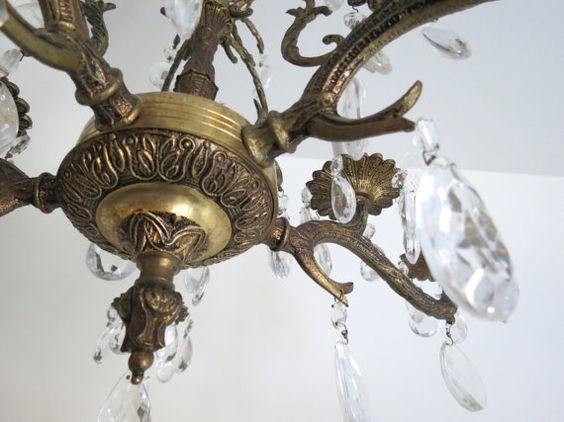 Antique Brass Chandelier // Vintage Spanish Style Ornate Large Hanging Light Fixture With Prism Crystals Elegant Hollywood Regency Lighting