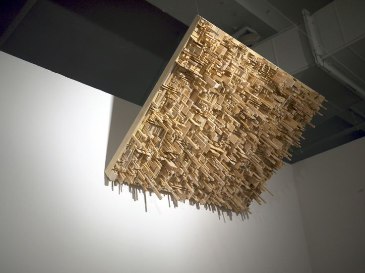 """dont look up!"" by KC Tidemand  Balsa wood on wood panel"