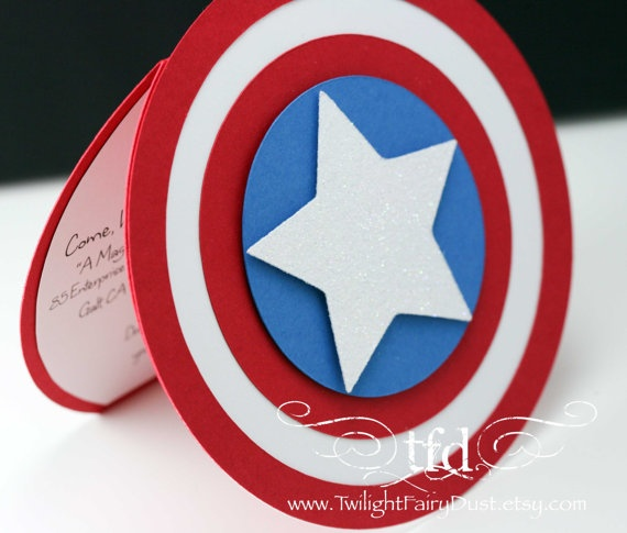 Captain America Invitations Set of 10  Custom by TwilightFairyDust, $33.00
