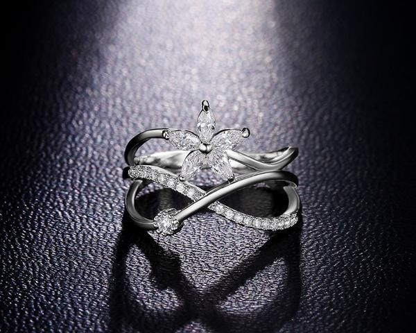 Delicate Flower Cubic Zirconia Ring
