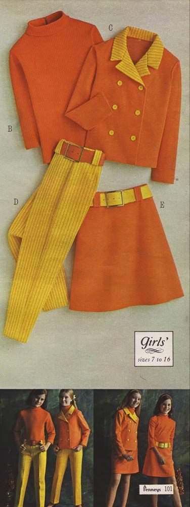 Fashion in the 1960s Clothing Styles, Trends, Pictures & History orange knit jacket pants skirt sweater yellow