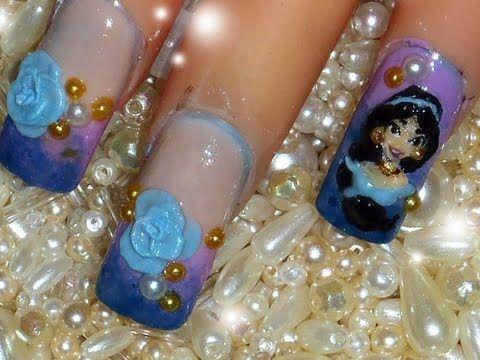 disney princess jasmine 3d acrylic nail art design