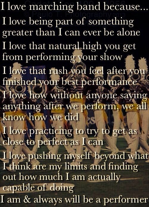 This is why I'm wanting to do the Colt Cadets. I love MB because we're all working TOGETHER to put on an amazing show. Sure it's hard and we don't get enough water breaks, but it's all worth it in the end.