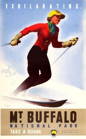 Mount Buffalo National Park Ski Australia, 1930s - original vintage poster by James Northfield listed on AntikBar.co.uk
