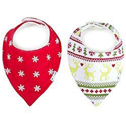 "Ziggy Baby Bandana Bibs for Teething Drool, 2 Pack ""Merry & Bright Collection"" Gift Set"