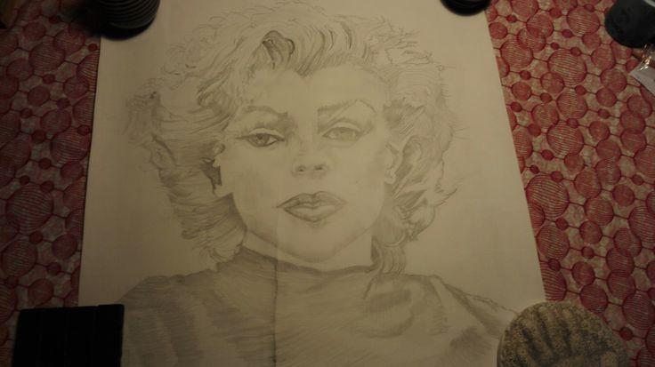 Jeg er ved at tegne Marilyn Monroe. Går på kursus ved Jenny Bilberg😁