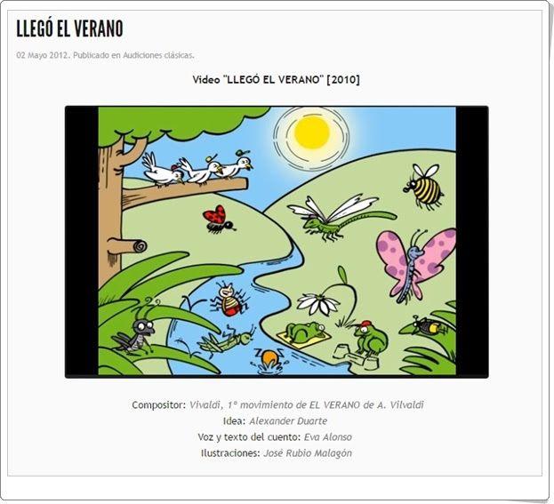 """""""Llegó el verano"""", de musicaeduca.es, es una audición musical de """"El verano"""" de Vivaldi y un cuento que le da contenido y hace seguir la música con mayor atención."""
