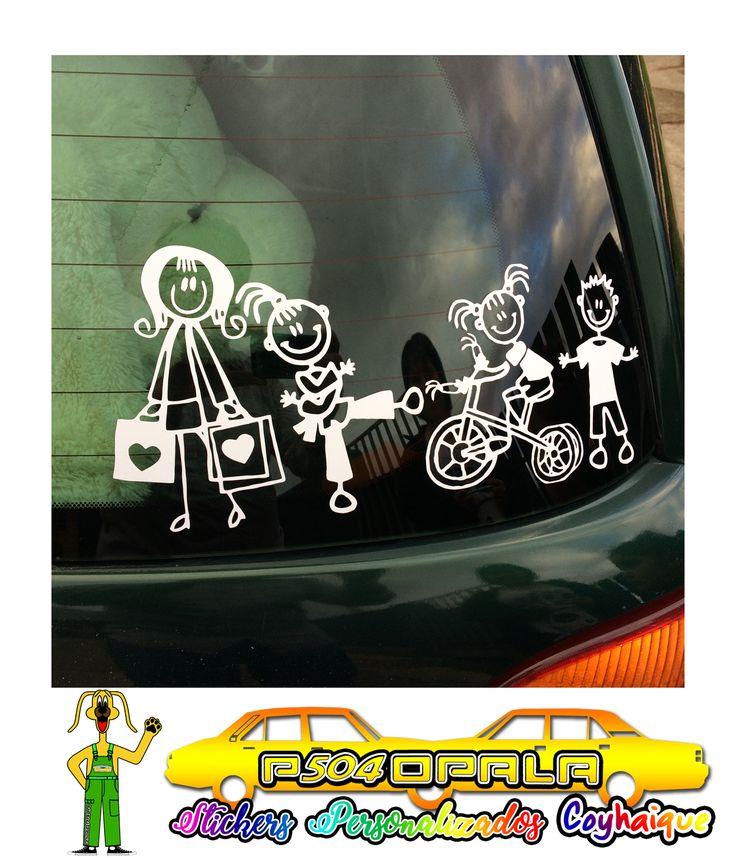 """Sticker """"Pack Familia"""" con 04 integrantes, instalado en Coyhaique"""