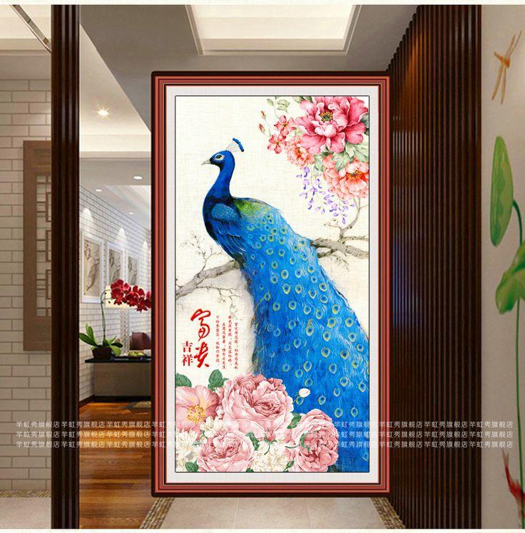 Kit for Needlework,DIY Cross stitch, Embroidery,Gold Fortune peace bird peacock print pattern Cross-Stitch animal decor