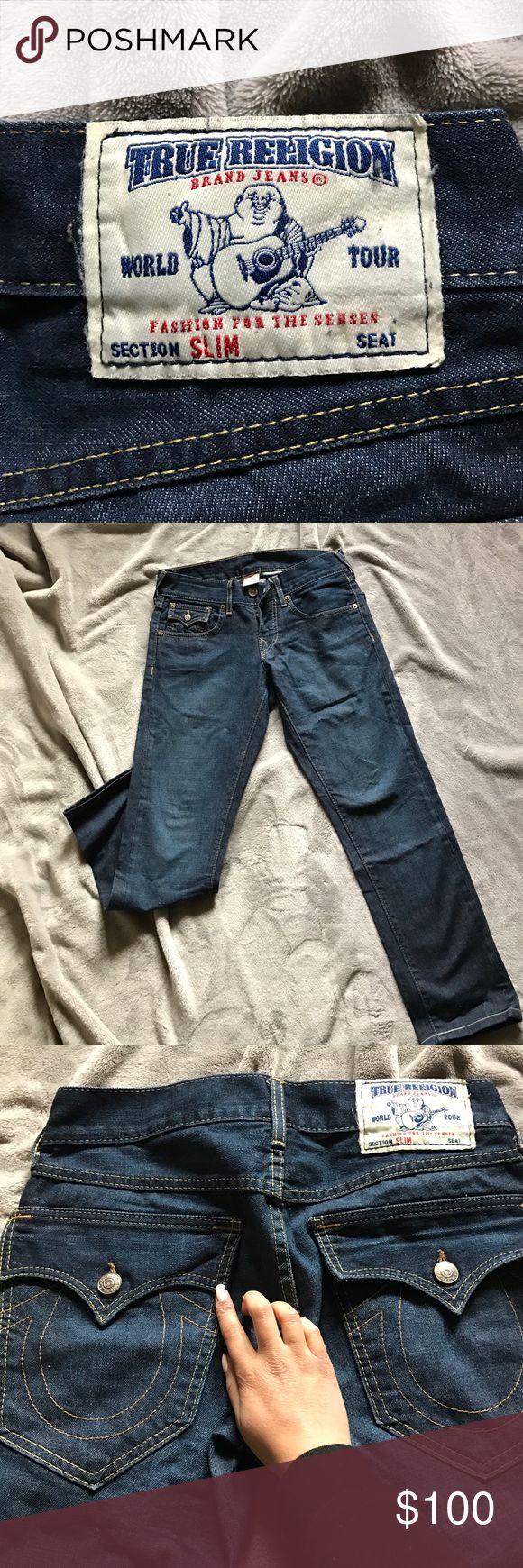"True Religion Slim jeans Men's authentic slim fit jeans size 28 dark blue in great condition. Approximately 30"" inseam True Religion Jeans Slim"