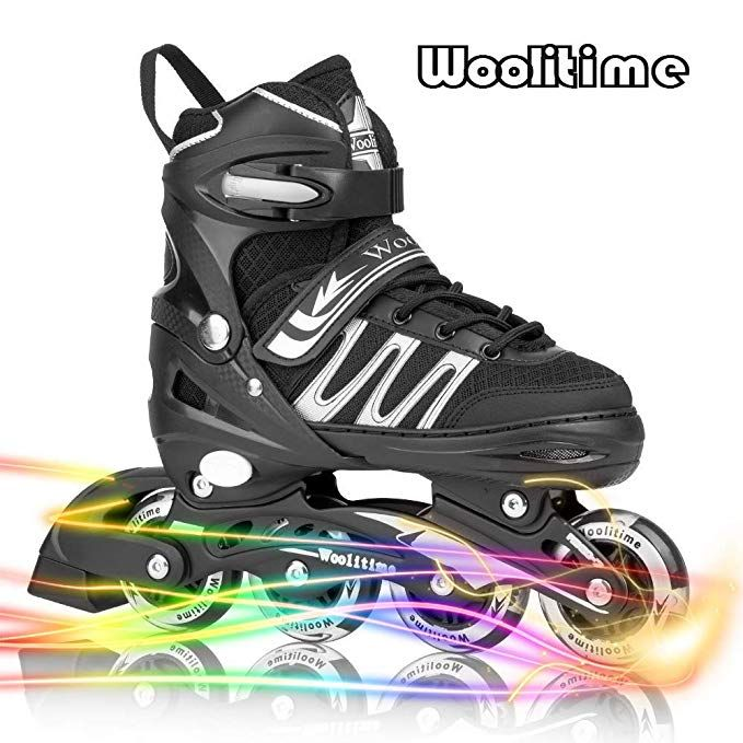 Woolitime Sports Adjustable Rollerblades For Girls And Kids With Featuring All Illuminating Wheels Safe And Durable Inline Skates Fashionable Roller Skates Fo Inline Skates For Kids Girls Roller Skates Kids Skates