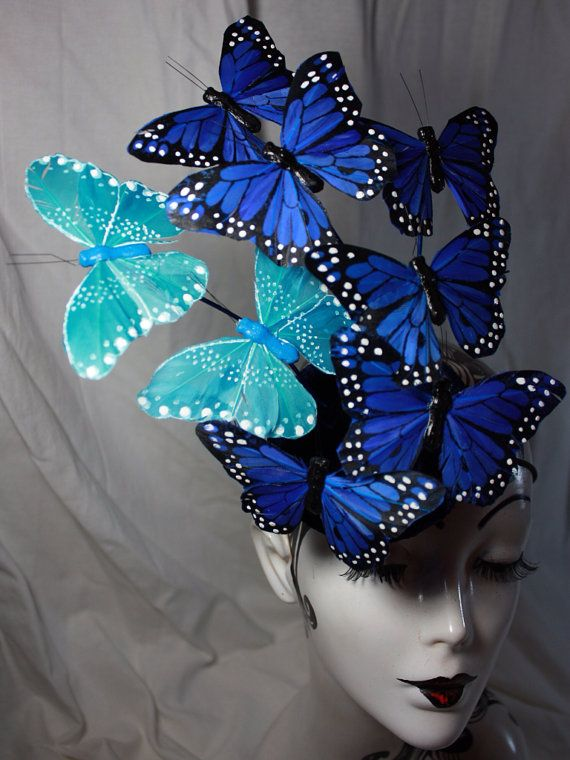 Butterfly hat, Effie Trinket, Hunger Games, Catching Fire, Blue feather butterfly button hat, fascinator, butterfly costume hat
