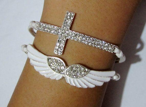 Diamond wings cross bracelet