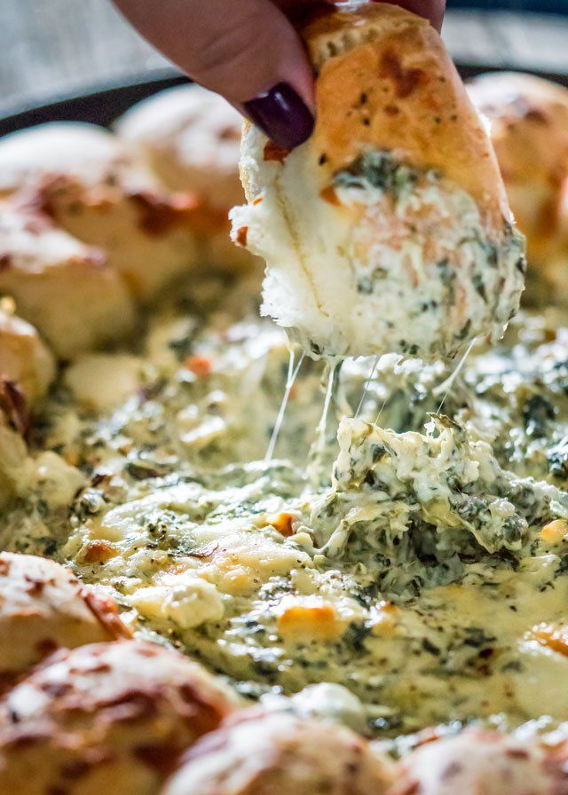 Pull Apart Bread with Spinach and Artichoke Dip - Jo Cooks