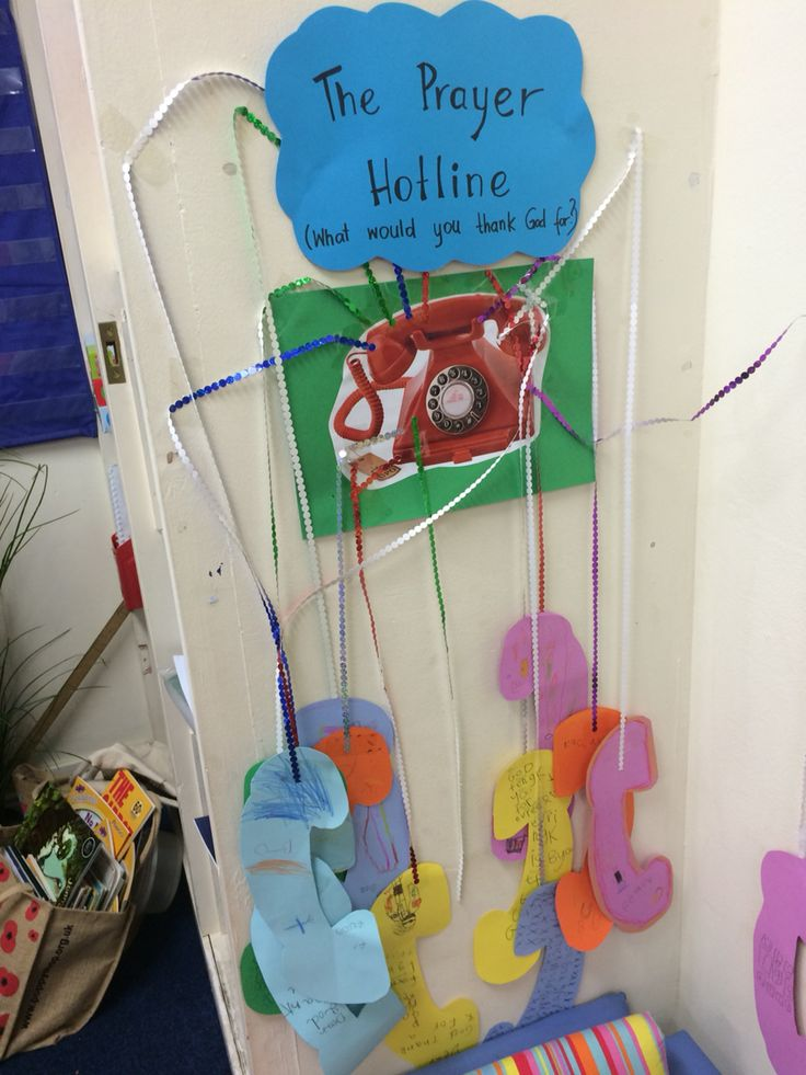 The Prayer Hotline. Children write prayers on cut out phones. They then call God.