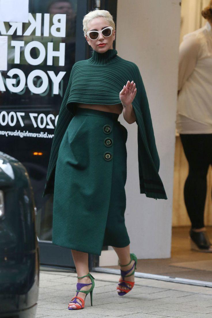 Lady Gaga Leaves Yoga in Green Ferragamo and Heels-Wmag