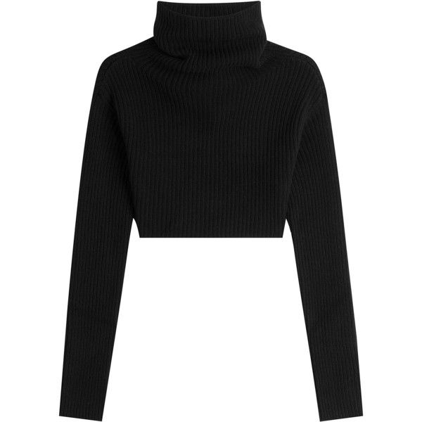 Valentino Cropped Virgin Wool and Cashmere Pullover found on Polyvore featuring tops, sweaters, crop tops, shirts, black, ribbed turtleneck, turtleneck sweater, ribbed turtleneck sweater, cashmere turtleneck sweater and pullover shirt