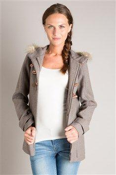 Manteau femme mi-long avec capuche