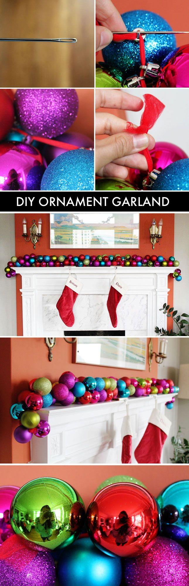 It takes less than 10 minutes to make this colorful ornament garland! - Would match the ornanment wreath I made perfectly! Note to self, buy plenty more clearance ornaments on 26 December...