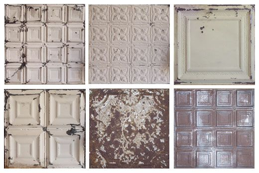 Distressed painted tin ceiling tiles ceiling pinterest - American tin tiles wallpaper ...
