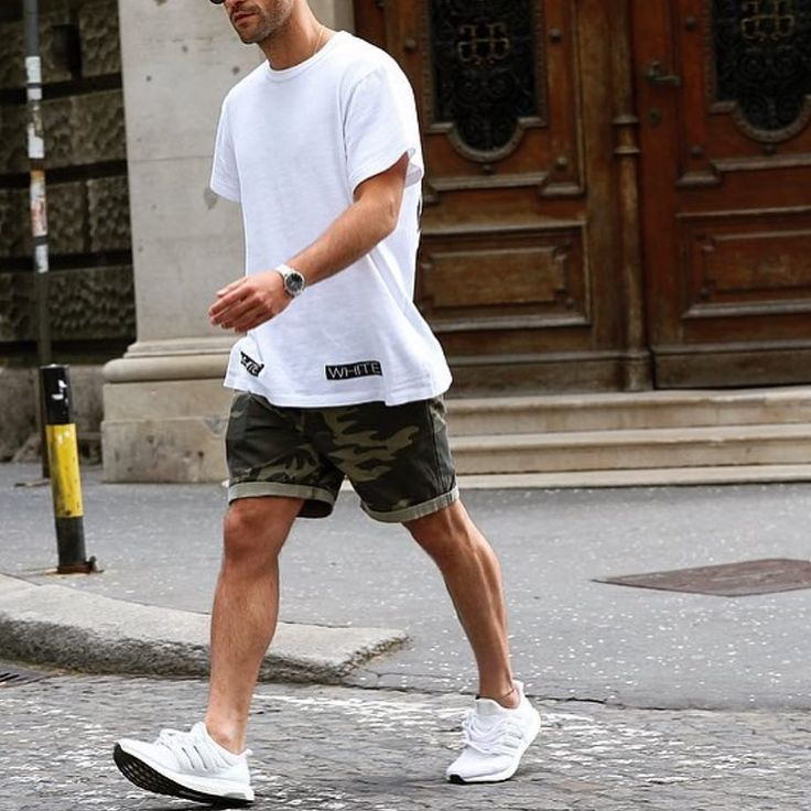 White t shirt sneakers and #camo shorts by @kosta_williams  [ http://ift.tt/1f8LY65 ]