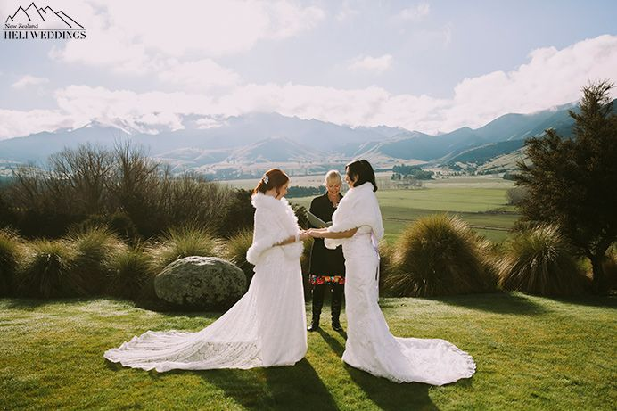 same sex wedding with two brides at Look out lodge, Wanaka
