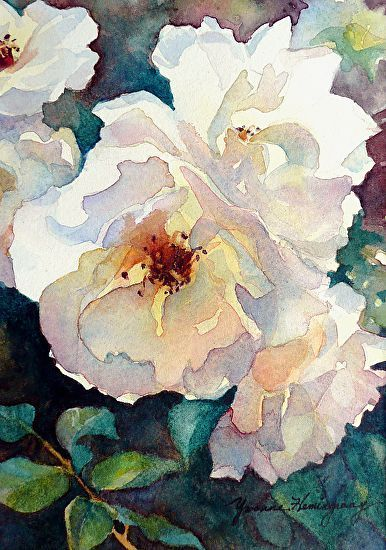 """White Roses by Yvonne Hemingway Watercolor ~ 10"""" x 8"""""""