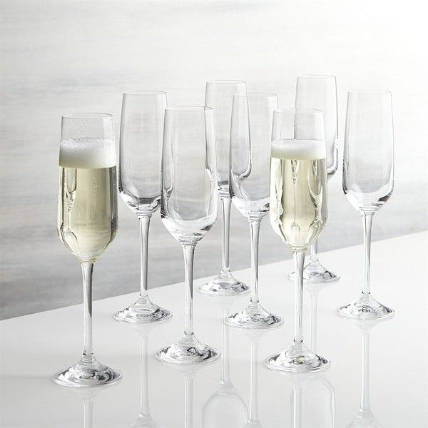 Crate & Barrel Set of 8 Nattie Champagne Glasses ($28) ❤ liked on Polyvore featuring home, kitchen & dining, drinkware, red glassware, tulip champagne glasses, red champagne glasses, crate and barrel glasses and square glassware
