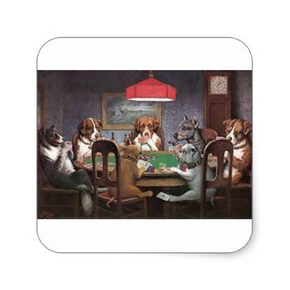 Dogs Playing Poker Square Sticker - dog puppy dogs doggy pup hound love pet best friend