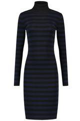 NIKKIE - gestreepte jurk met colkraag #littleblackdress #blackdress #LBD #jurk #zwartejurk