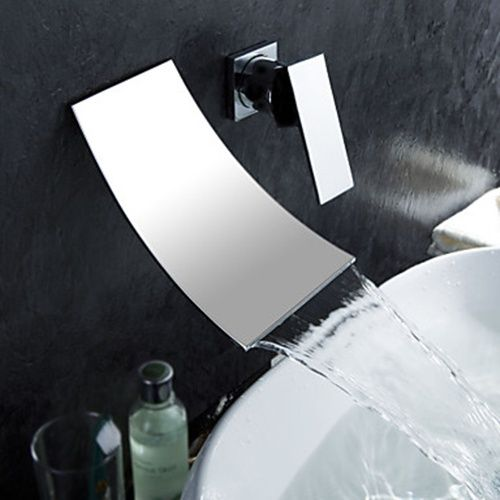 Waterfall Widespread Contemporary Bathroom Sink Faucet (Chrome Finish) - FaucetSuperDeal.com  $160