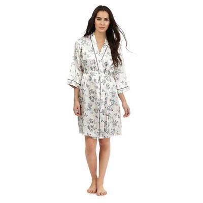 The Collection Cream butterfly print short dressing gown- | Debenhams