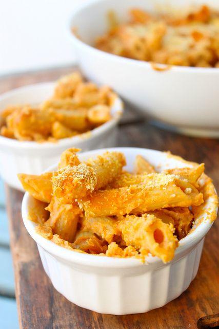 Pumpkin Macaroni--Vegan. pumpkin, dry mustard, almond milk, and chevre mix...