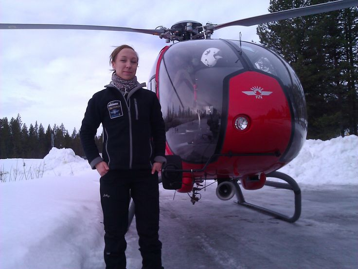 I direct outdoor filming in the arctic region of Kiruna (with helicopter pilot Micaela).