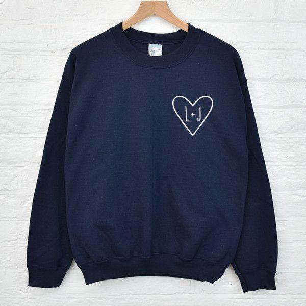 Personalised couple's initials sweatshirt