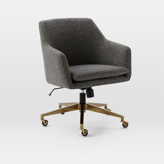 Helvetica Desk Chair, Salt + Pepper, Tweed (Blackened Bronze Base)
