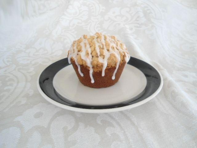 Pumpkin Streusel muffin with vanilla glaze drizzle