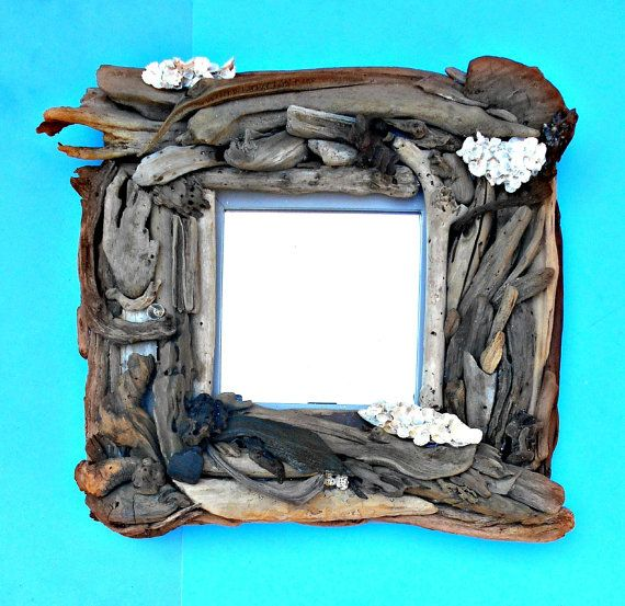 """Driftwood Seashell Mirror, Photo Frame or Mirror Your Choice, Large Frame 18"""" x 18"""", Piled with Driftwood, 7""""x 7"""" Opening, Gently Handmade"""
